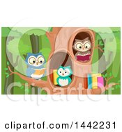 Clipart Of A Group Of Owls Reading In A Tree Royalty Free Vector Illustration