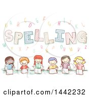 Group Of Sketched School Children Learning How To Spell