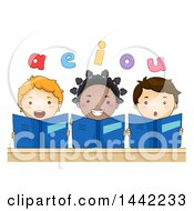 Clipart Of A Group Of School Children Holding Books And Reading Vowels Out Loud Royalty Free Vector Illustration by BNP Design Studio