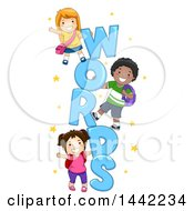 Clipart Of A Group Of School Children Playing On WORDS Text Royalty Free Vector Illustration by BNP Design Studio