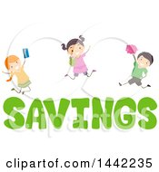 Clipart Of A Group Of Children Holding Financial Items And Jumping Over Savings Text Royalty Free Vector Illustration