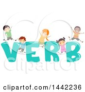 Clipart Of A Group Of School Children Jumping Around The Word VERB Royalty Free Vector Illustration
