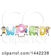 Group Of Sketched Children With WORD