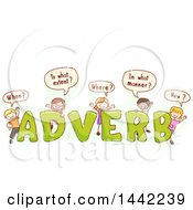 Group Of Sketched Children Asking Questions With The Word ADVERB