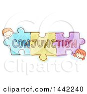 Sketched Boy And Girl With Puzzle Pieces And CONJUNCTION Text
