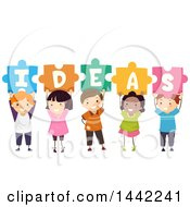 Clipart Of A Group Of School Children Holding Up Puzzle Pieces Spelling IDEAS Royalty Free Vector Illustration by BNP Design Studio