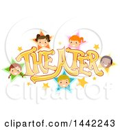 Clipart Of A Group Of Children In Stars Around The Word Theater Royalty Free Vector Illustration by BNP Design Studio