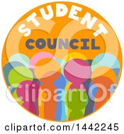 Clipart Of A Round Orange Student Council Badge With Colorful Pupils Royalty Free Vector Illustration