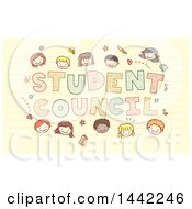 Sketched Group Of School Children Around Student Council Text On Ruled Paper
