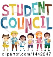 Group Of School Children Under Student Council Text