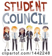 Group Of Teenage School Children Under Student Council Text
