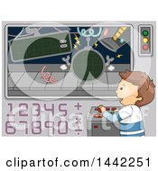 Cartoon Brunette Caucasian Boy Using Math To Control Robots