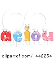 Clipart Of A Group Of Happy Vowel Letter Characters Royalty Free Vector Illustration by BNP Design Studio