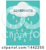 Clipart Of A Consonants Cloud With Rain Letters Royalty Free Vector Illustration