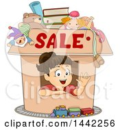 Clipart Of A Brunette Caucasian Girl Waving From Inside A Box With Sale Text And Items Available Royalty Free Vector Illustration