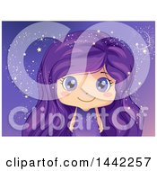 Clipart Of A Caucasian Girl With Purple Eyes And Hair Surrounded By Magical Stars Royalty Free Vector Illustration