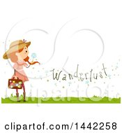 Clipart Of A Red Haired Caucasian Girl Holding A Dandelion Seedhead And Suitcase With Wanderlust Text Royalty Free Vector Illustration