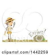 Clipart Of A Brunette Caucasian Girl Holding A Magnifying Glass By A Fossil With Explore Text Royalty Free Vector Illustration by BNP Design Studio