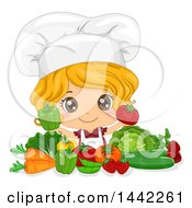Cartoon Caucasian Girl Chef Holding Up A Tomato And Bell Pepper Over Vegetables