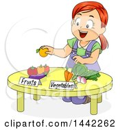 Sketched Red Haired Caucasian Girl Kneeling At A Table And Separating Fruits And Vegetables