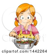 Clipart Of A Red Haired Caucasian Girl Making A Mud Pie Royalty Free Vector Illustration by BNP Design Studio