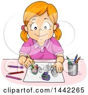 Clipart Of A Red Haired Caucasian Girl Coloring Butterflies With Pencils Royalty Free Vector Illustration