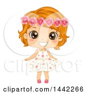 Red Haired Caucasian Girl In A Flower Dress Wearing A Floral Crown