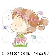 Clipart Of A Sketched Caucasian Girl Wearing A Flower Crown And Playing In A Garden Royalty Free Vector Illustration by BNP Design Studio