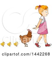 Red Haired Caucasian Girl Walking With A Row Of Chicks And A Hen Behind Her