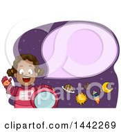 Clipart Of A Cartoon Happy Talking Black Astronaut Girl Royalty Free Vector Illustration by BNP Design Studio