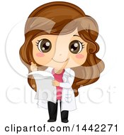 Clipart Of A Cartoon Brunette Caucasian Girl In A White Science Lab Coat Taking Notes Royalty Free Vector Illustration by BNP Design Studio