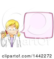 Clipart Of A Cartoon Blond Caucasian Scientist Girl Waving And Talking Royalty Free Vector Illustration by BNP Design Studio