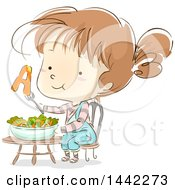 Clipart Of A Sketched Caucasian Girl With Vitamin A From A Salad Royalty Free Vector Illustration by BNP Design Studio