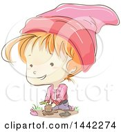 Clipart Of A Sketched Gnome Girl Gardening Royalty Free Vector Illustration