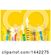 Clipart Of Diverse Hands Over A Yellow Background Royalty Free Vector Illustration