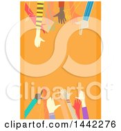 Clipart Of Diverse Hands Over An Orange Background Royalty Free Vector Illustration