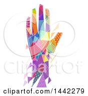Colorful Patterned Geometric Hand On A White Background