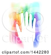 Clipart Of A White Silhouetted Hand With Colorful Magical Energy Royalty Free Vector Illustration