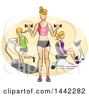 Clipart Of A Sketched Faceless Blond Caucasian Woman Shown Working Out With Dumbbells On A Stationary Bicycle And On A Treadmill In A Gym Royalty Free Vector Illustration