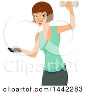 Clipart Of A Brunette Caucasian Woman Holding A Tv Remote And Working Out With A Dumbbell Royalty Free Vector Illustration by BNP Design Studio