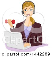 Blond Caucasian Woman Working Out With A Dumbbell While Working In An Office