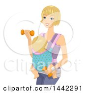 Fit Blond Caucasian Mother Working Out With Dumbbells And Her Baby Strapped To Her Stomach