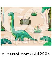 Clipart Of A Brontosaurus Dinosaur In A Prehistoric Landscape Royalty Free Vector Illustration