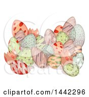 Poster, Art Print Of Grou Of Colorful Patterned Dinosaur Eggs