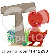Clipart Of A Red Tyrannosaurus Rex Dinosaur By A Letter T Royalty Free Vector Illustration by BNP Design Studio