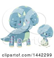 Clipart Of A Triceratops Dinosaur Watching A Baby Hatch Royalty Free Vector Illustration