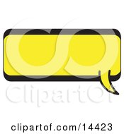 Rectangle Shaped Word Balloon With A Yellow Background And Bold Black Outline