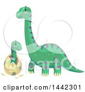 Clipart Of A Brontosaurus Dinosaur Watching A Baby Hatch Royalty Free Vector Illustration