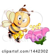 Clipart Of A Happy Bee Pollinating A Flower Royalty Free Vector Illustration