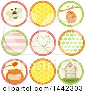 Round Sewn Styled Icons With Bees Patterns And Honey